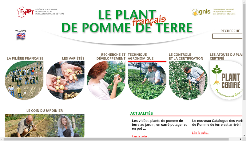 Capture d'écran du site de Recherche Dev Promo Plant Pomme Terre