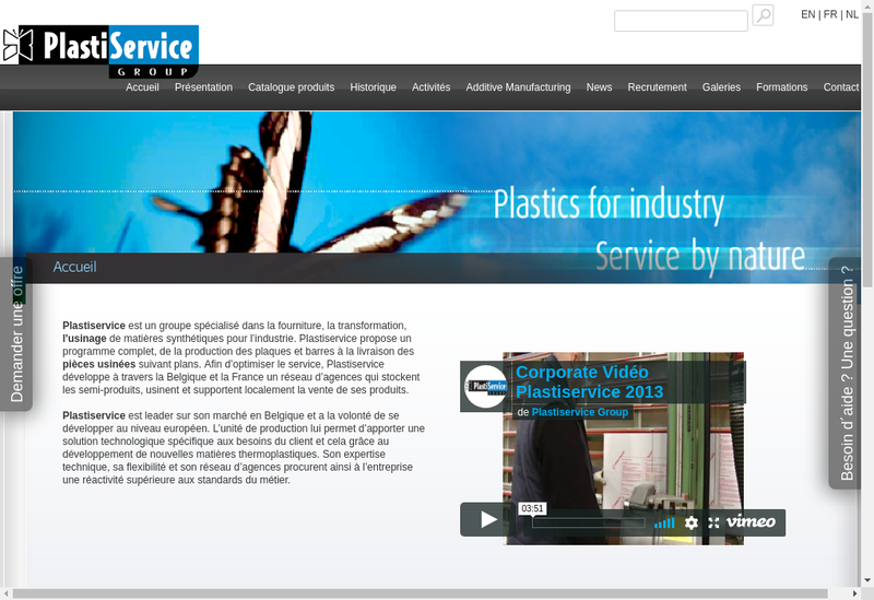 Capture d'écran du site de Plastiservice France