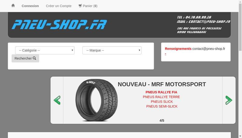 Capture d'écran du site de Pneu Shop