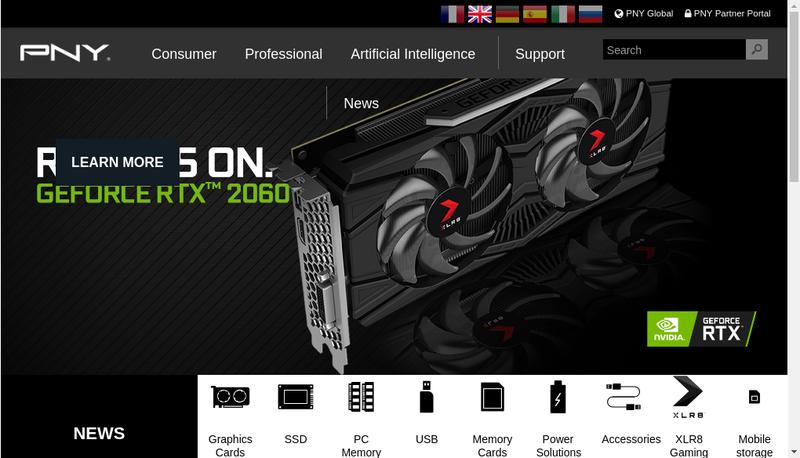 Capture d'écran du site de PNY Technologies Europe