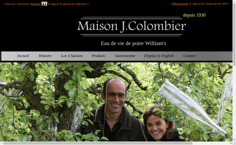 Capture d'écran du site de Maison Colombier