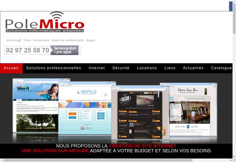 Capture d'écran du site de Pole Micro