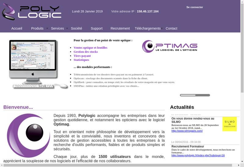 Capture d'écran du site de Polylogic