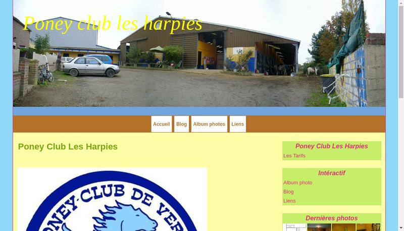 Capture d'écran du site de Poney Club les Harpies