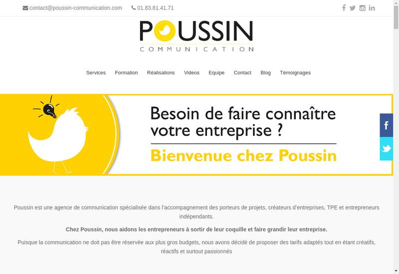 Capture d'écran du site de Poussin Communication