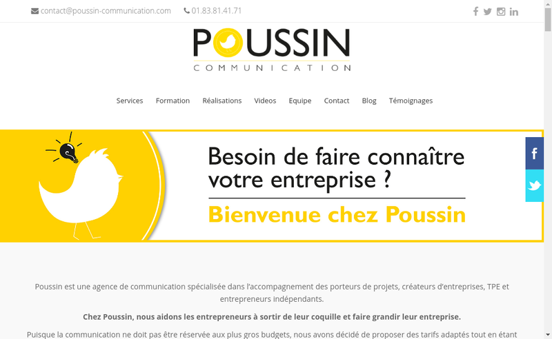 Capture d'écran du site de Poussin Communication