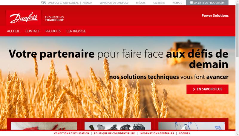 Capture d'écran du site de Danfoss Power Solutions