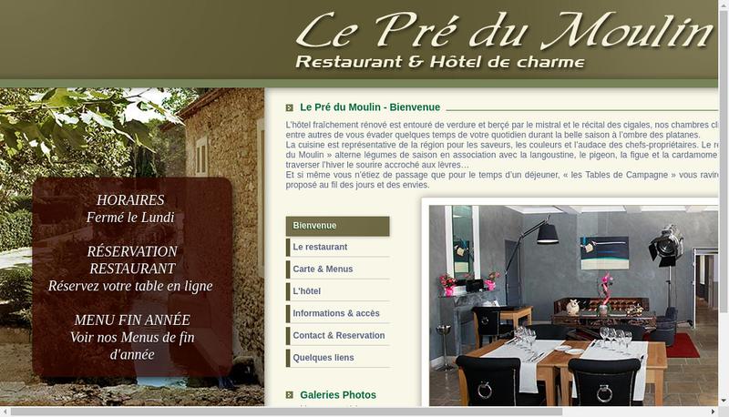 Capture d'écran du site de Hostellerie du Vieux Chateau