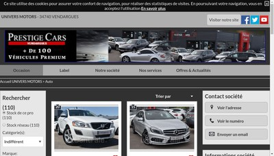 Site internet de Prestige Cars