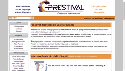 Capture d'écran du site de Prestival