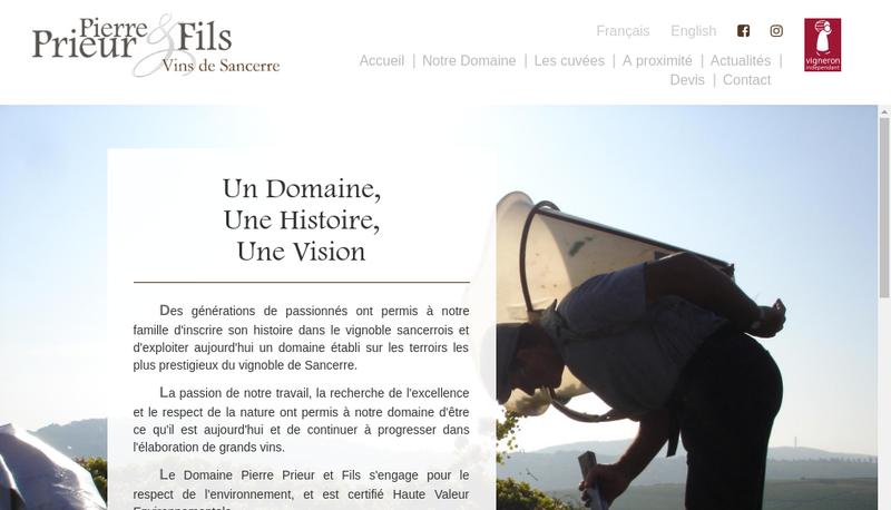 Capture d'écran du site de SA Prieur Pierre et Fils