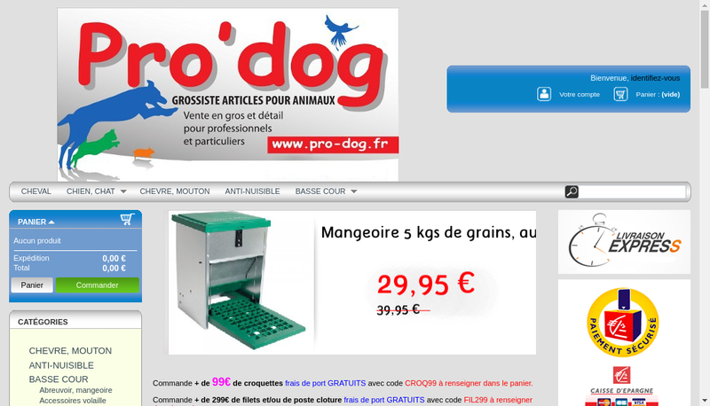 Capture d'écran du site de Pro'Dog