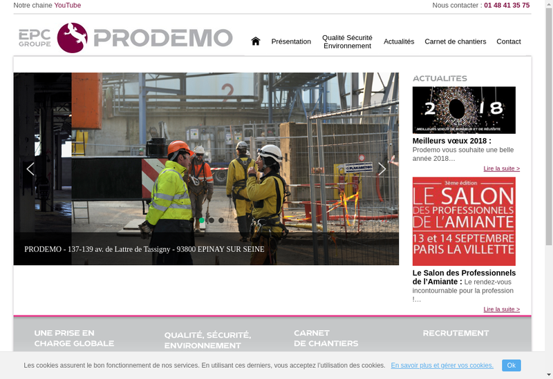 Capture d'écran du site de Prodemo
