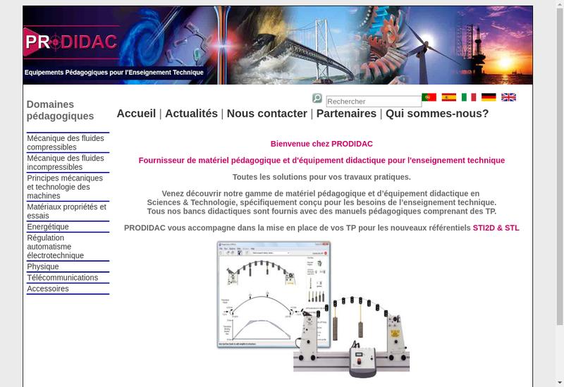 Capture d'écran du site de Prodidac