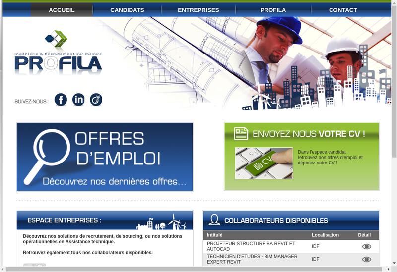 Capture d'écran du site de Profila