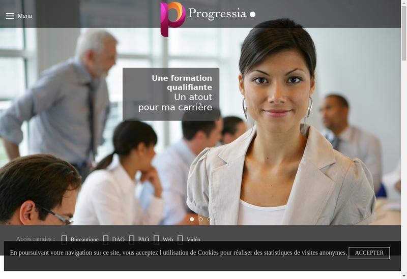 Capture d'écran du site de Progressia