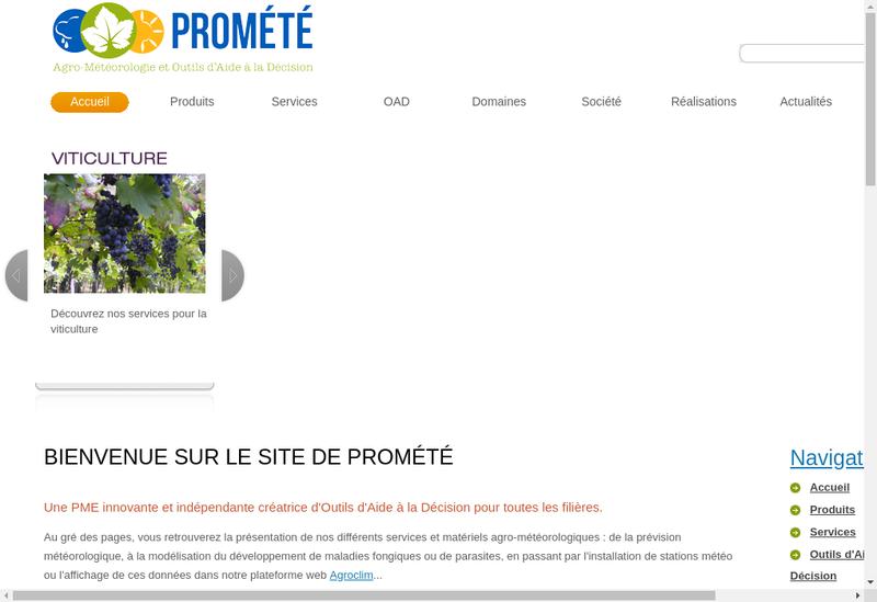 Capture d'écran du site de Promete