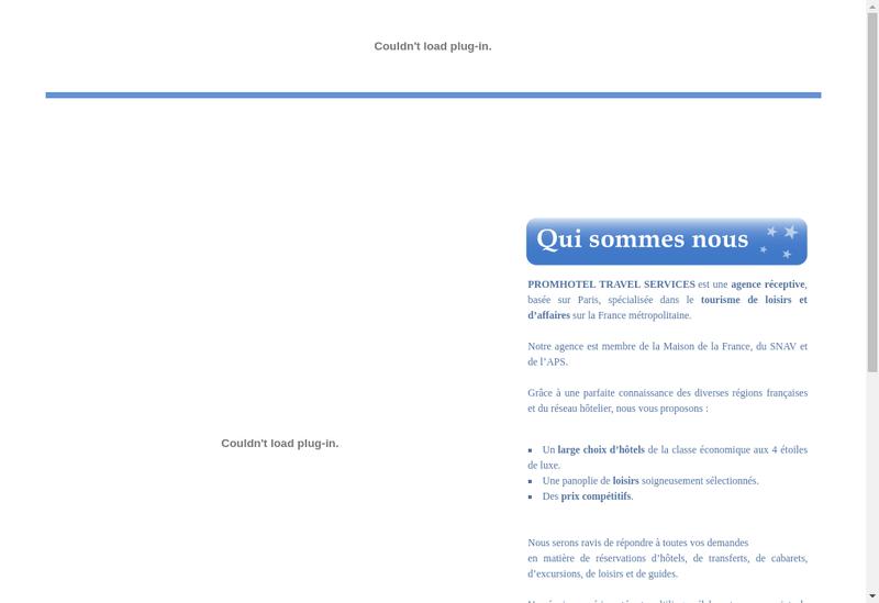 Capture d'écran du site de Promhotel