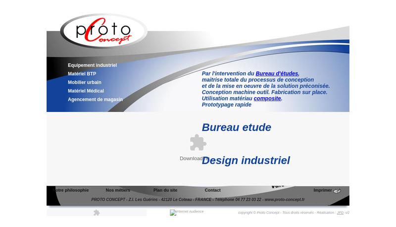 Capture d'écran du site de Proto Concept Loire