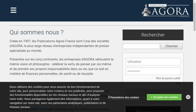 Capture d'écran du site de Agora France