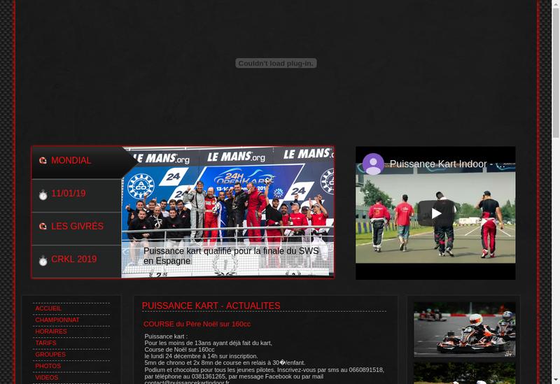 Capture d'écran du site de Puissance Kart Indoor