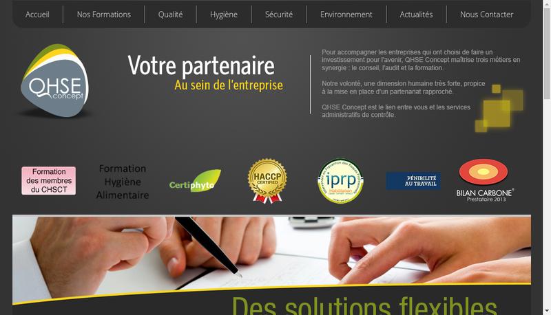Capture d'écran du site de Qhse Concept