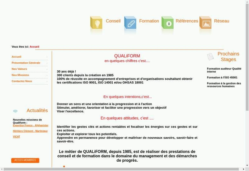 Capture d'écran du site de Qualifor