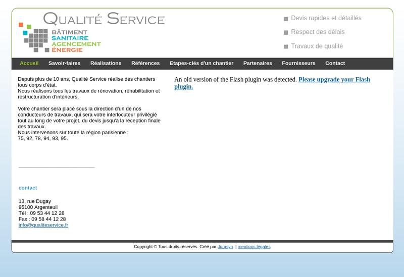Capture d'écran du site de Batiment Qualite Service