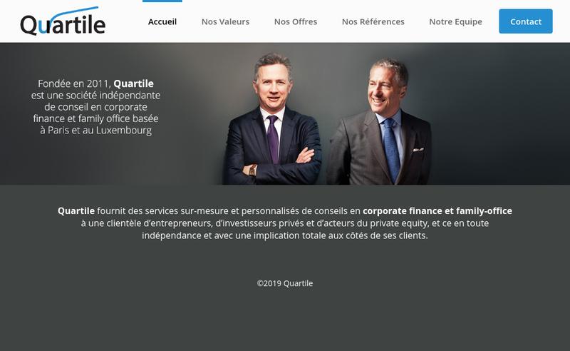 Capture d'écran du site de Quartile Partners