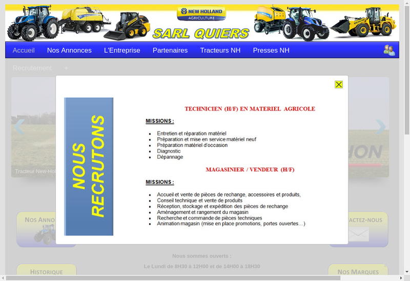 Capture d'écran du site de SARL Quiers