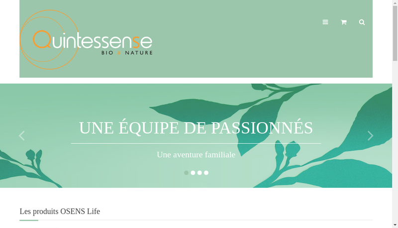 Capture d'écran du site de Quintessense