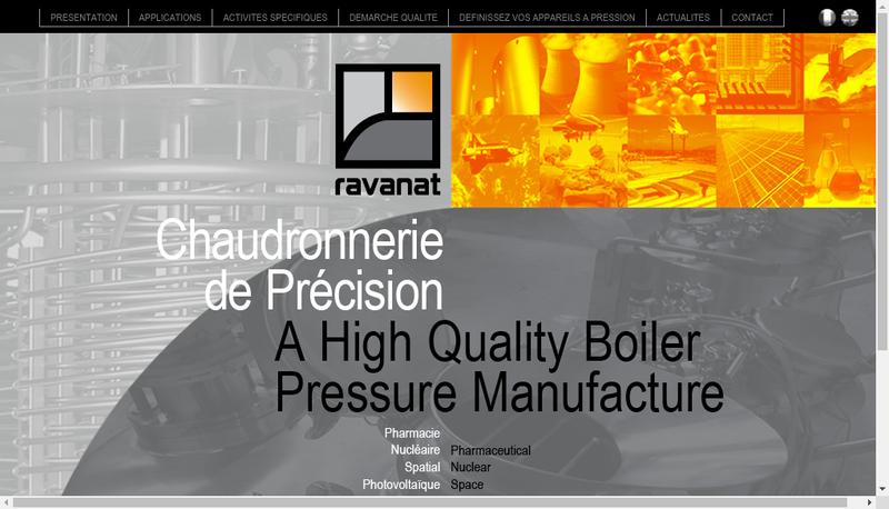 Capture d'écran du site de Ravanat Chaudronnerie