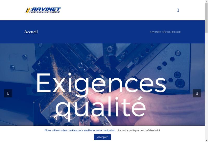 Capture d'écran du site de Ravinet Decolletage