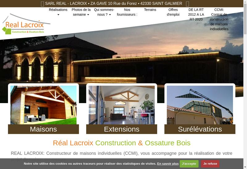 Capture d'écran du site de SARL Real-Lacroix