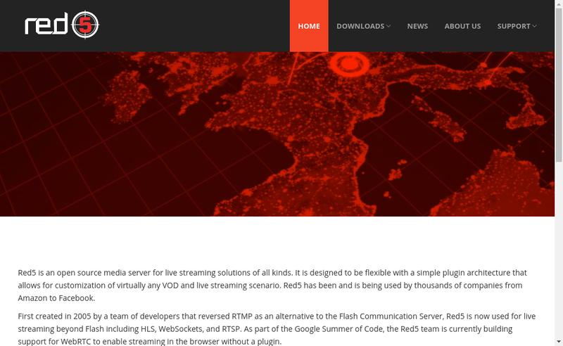 Capture d'écran du site de Red5