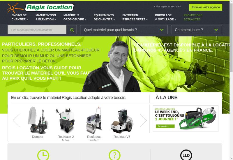 Capture d'écran du site de Regis Location