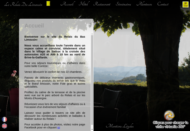 Capture d'écran du site de Le Relais du Limousin