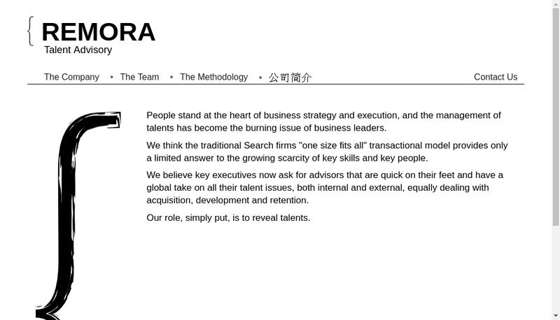 Capture d'écran du site de Remora Talent Advisory
