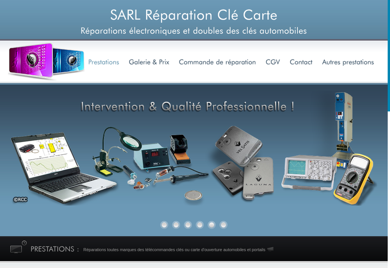 Capture d'écran du site de Reparation Cle Carte