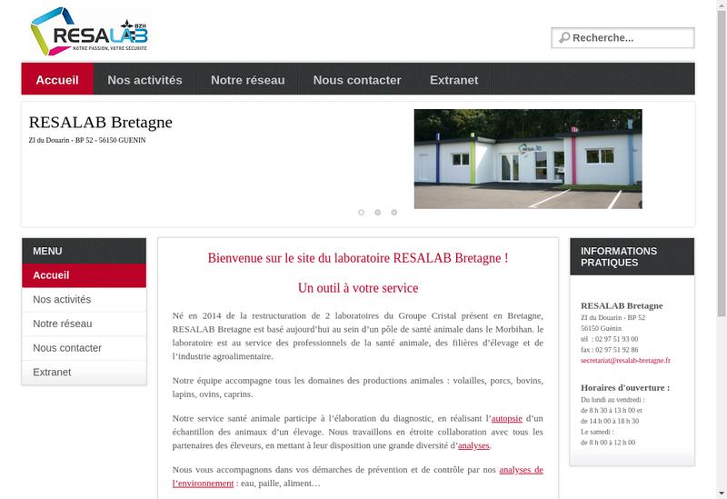 Capture d'écran du site de Resalab Bretagne