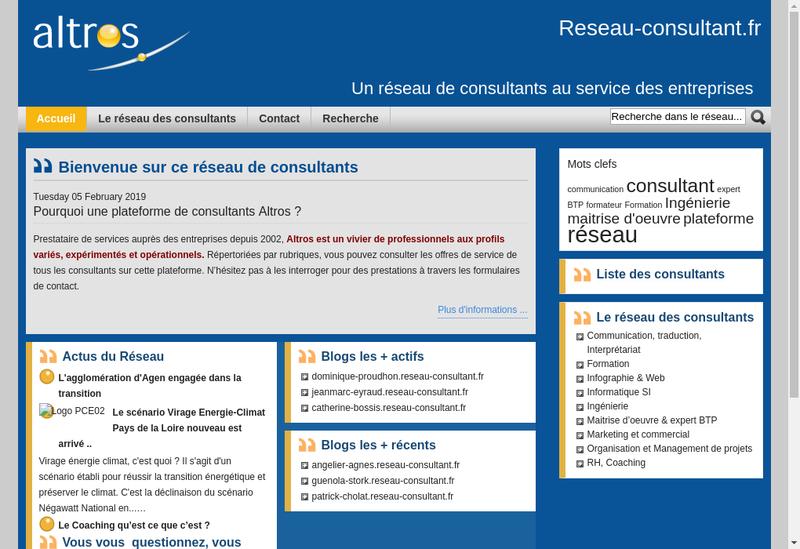 Capture d'écran du site de Altros Ingenierie