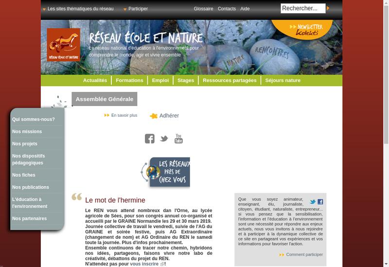 Capture d'écran du site de Assoc Reseau Ecole et Nature
