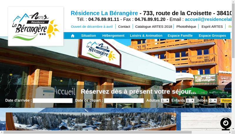 Capture d'écran du site de Artes Tourisme