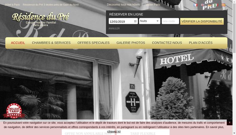 Capture d'écran du site de Residence du Pre
