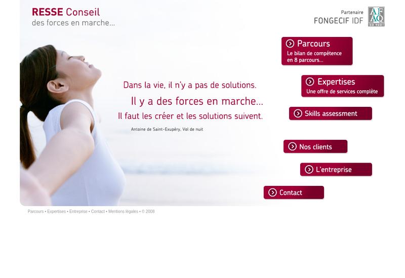 Capture d'écran du site de Resse Conseil