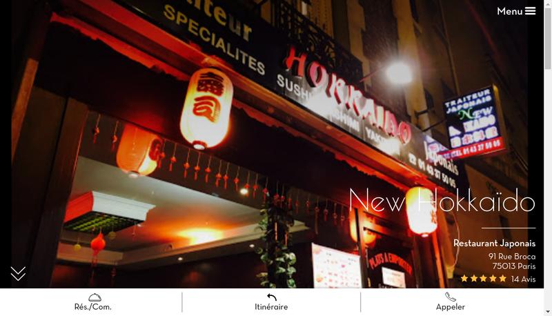 Capture d'écran du site de Hokkaido
