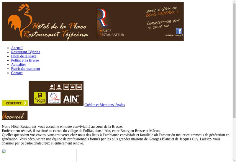 Capture d'écran du site de Hotel Restaurant de la Place
