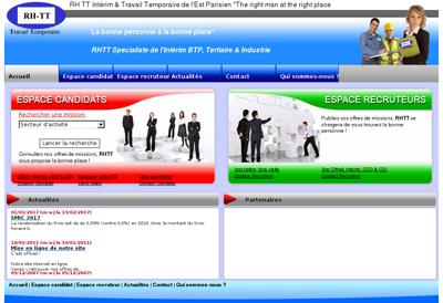 Capture d'écran du site de Rh Tt Interim