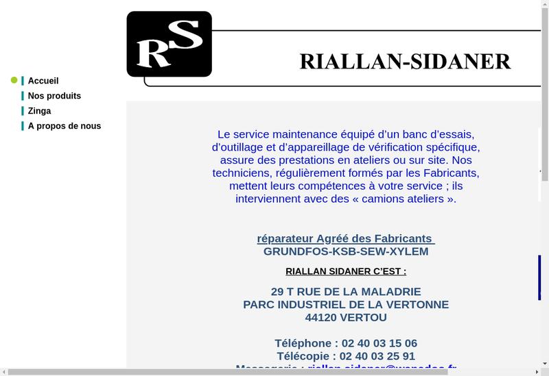 Capture d'écran du site de SARL Riallan Sidaner