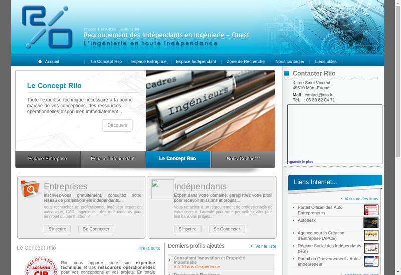 Capture d'écran du site de Regroup Independants Ingenierie Ouest